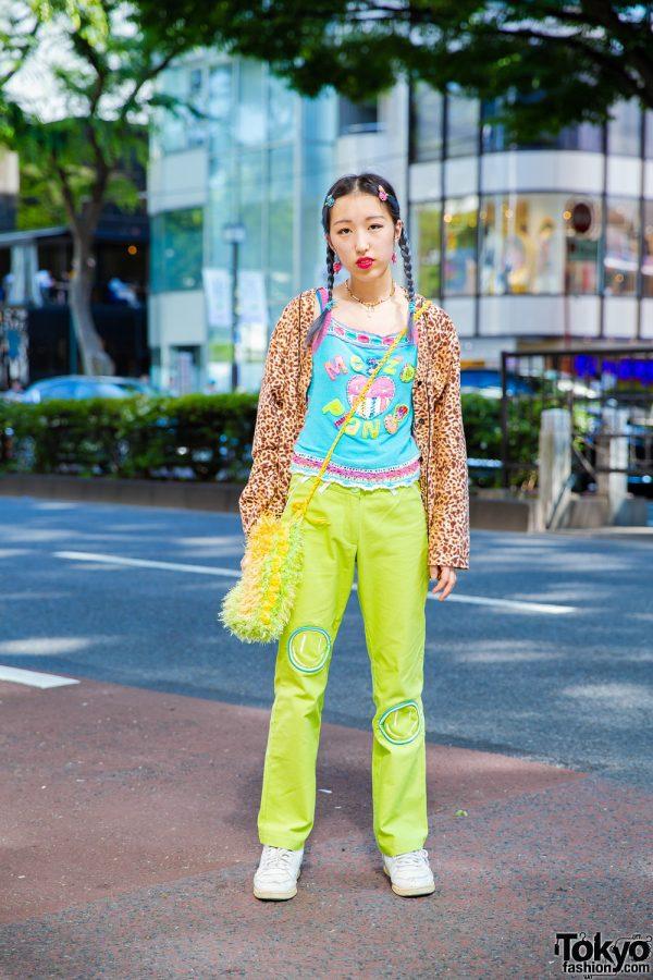 Tokyo Street Style w/ Banny Leopard Print Jacket, Mezzo Piano Top, Mouse Green Pants, Pinnap Accessories & Mau Mau Bag