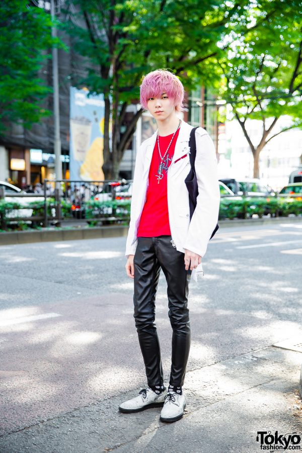 Pink Hair & Black Leather Pants Harajuku Streetwear w/ Comme des Garcons, H&M, Agnes B. & Jean Paul Gaultier