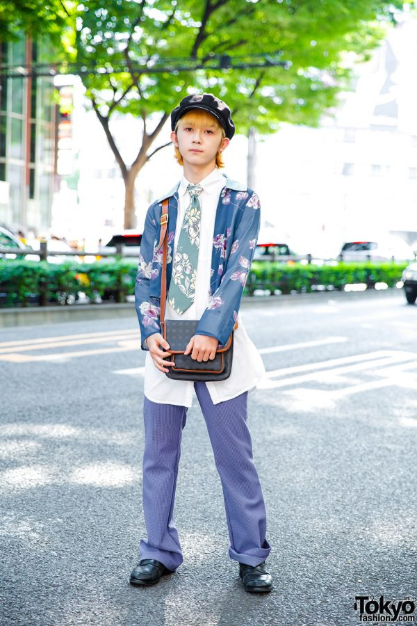 Harajuku Guy in Floral Streetwear w/ Takeo Kikuchi, Tommy Hilfiger & Kenzia
