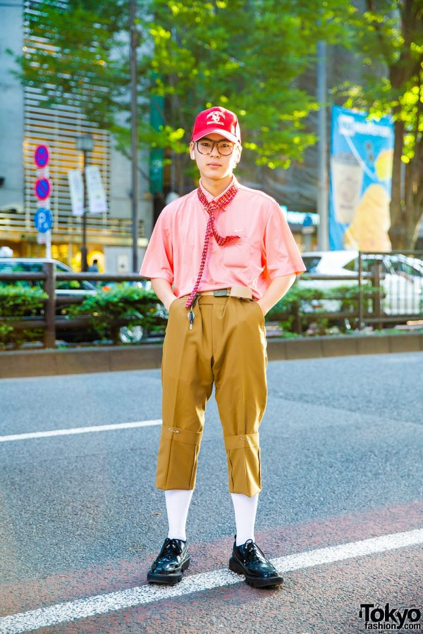 Harajuku Streetwear Style w/ Safety Pin Tie, Pink Striped Top, Soe Cuffed Pants & Rombaut Shoes