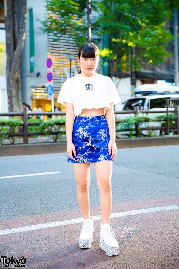 Harajuku Girl w/ Handmade Crop Top, Blue Floral Skirt & Vintage Platform Shoes