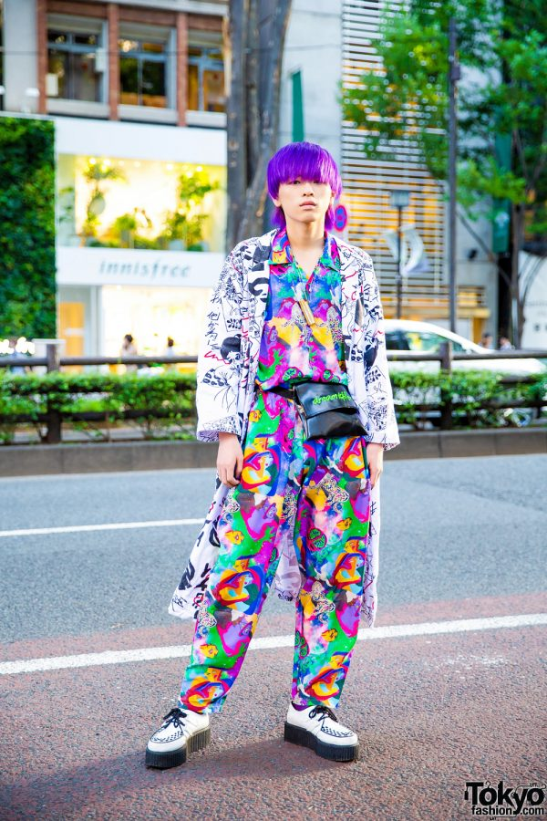 Purple Haired Harajuku Guy in Mixed Prints Kobinai Japan Streetwear Style