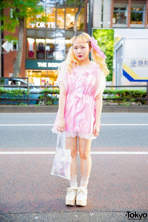 Harajuku Girl in Pink Street Style w/ Blueberry Sherbet Home, Yuriko Eto, Tokyo Bopper & Nile Perch