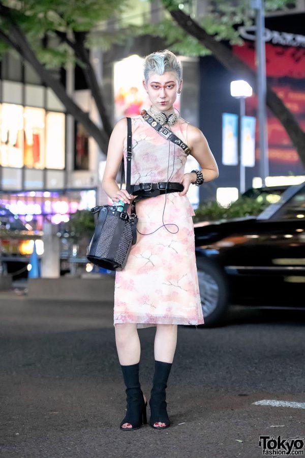 Japanese Artist in Harajuku w/ Vivienne Tam Dress, Studded Heaphones, Diesel Gold & Vintage Fashion