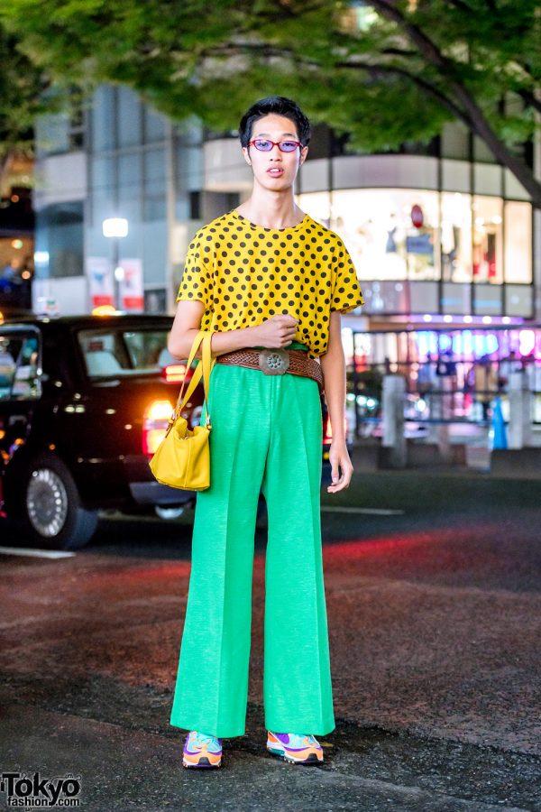 Colorful Retro Japanese Street Style in Harajuku w/ Vintage Fashion & Nike Sneakers
