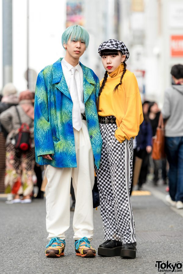 Harajuku Duo's Streetwear Styles w/ Snakeskin Blazer, Gap Turtleneck Sweater, Never Mind the XU Checkerboard Pants, Bernhard Willhelm Sneakers & Adidas Waist Bag