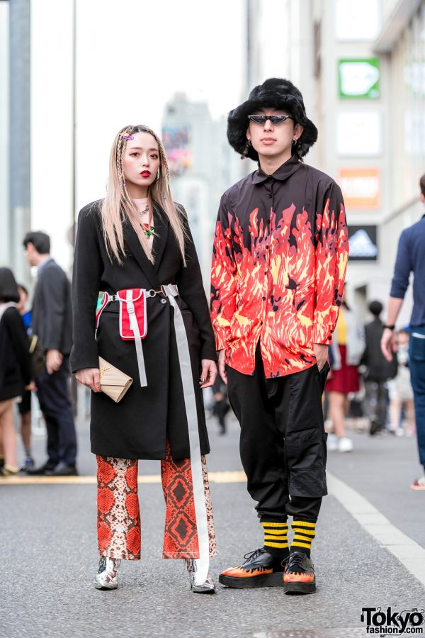 Fresh Anti Youth Designers in Red & Black Harajuku Streetwear w/ Long Coat, BE, YSL, MYOB, Y-3 & UNIF Flame Creepers