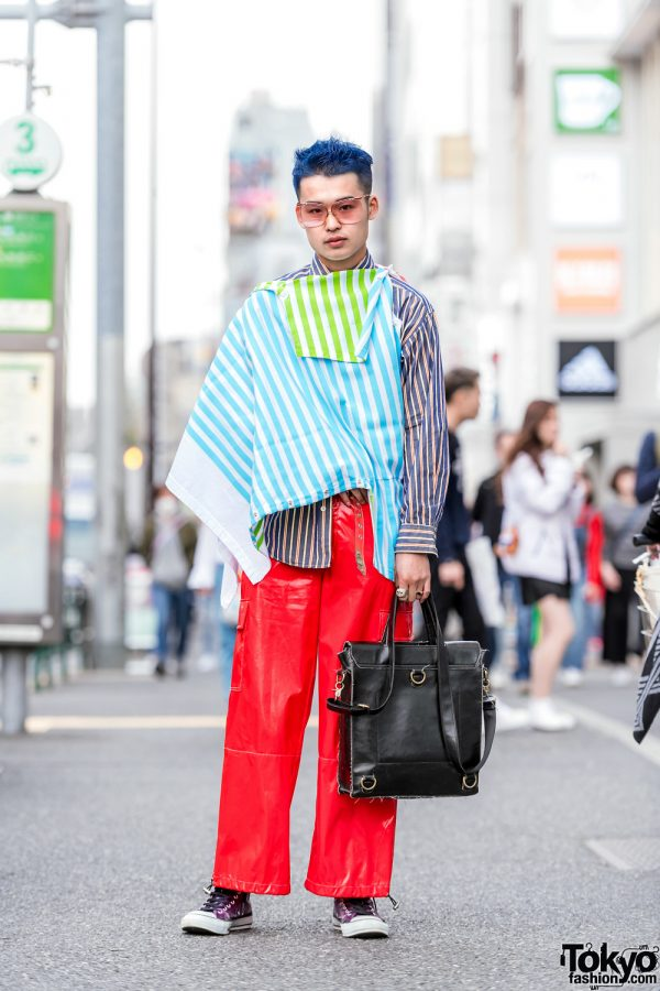 Harajuku Guy w/ Blue Hair, Mikio Sakabe Deconstructed Jacket, Striped Banana Republic Top, Red Pants & Converse Purple Sneakers