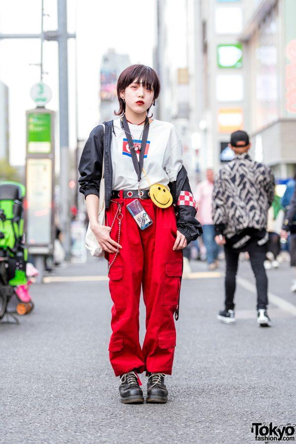 Polo Ralph Lauren Jacket, Resistance Top, Faith Tokyo Pants & Dr. Martens Boots in Harajuku
