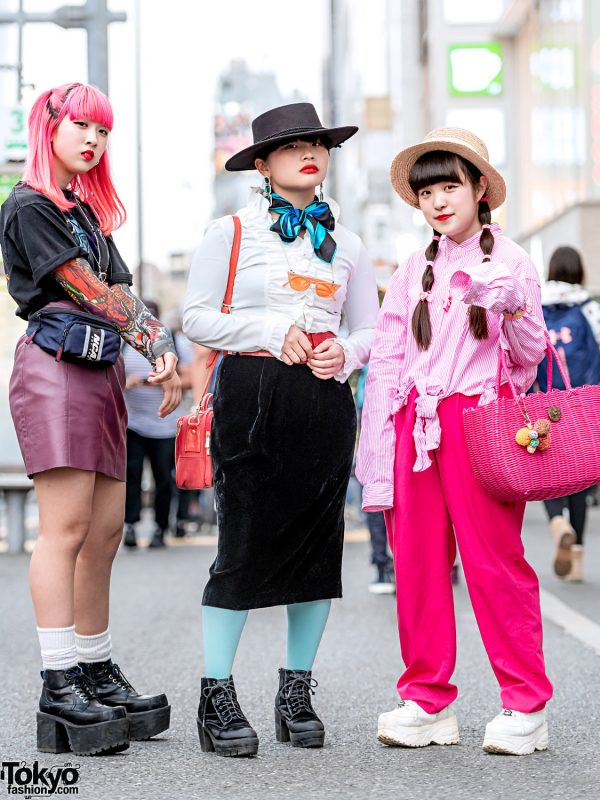 Harajuku Girl Streetwear Styles w/ Kiss T-Shirt, King Family, Kinji Velvet Skirt, Ralph Lauren, Panama Boy, Yosuke, WEGO & Nakano Accessories