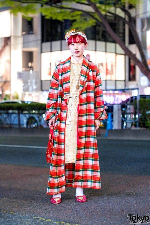 Retro Vintage Harajuku Fashion w/ Long Plaid Coat, Paisley Dress, Sequin Shoes, Floral Tote & Rope Belt