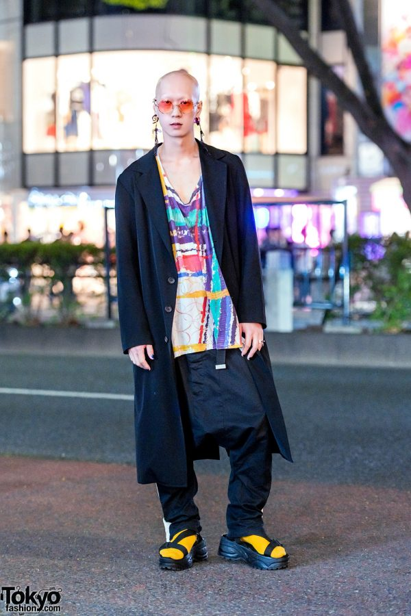 Japanese Musician & Model in Y's Long Coat, Kenzo, Nozomi Ishiguro Drop-Crotch Pants & Platform Sandals