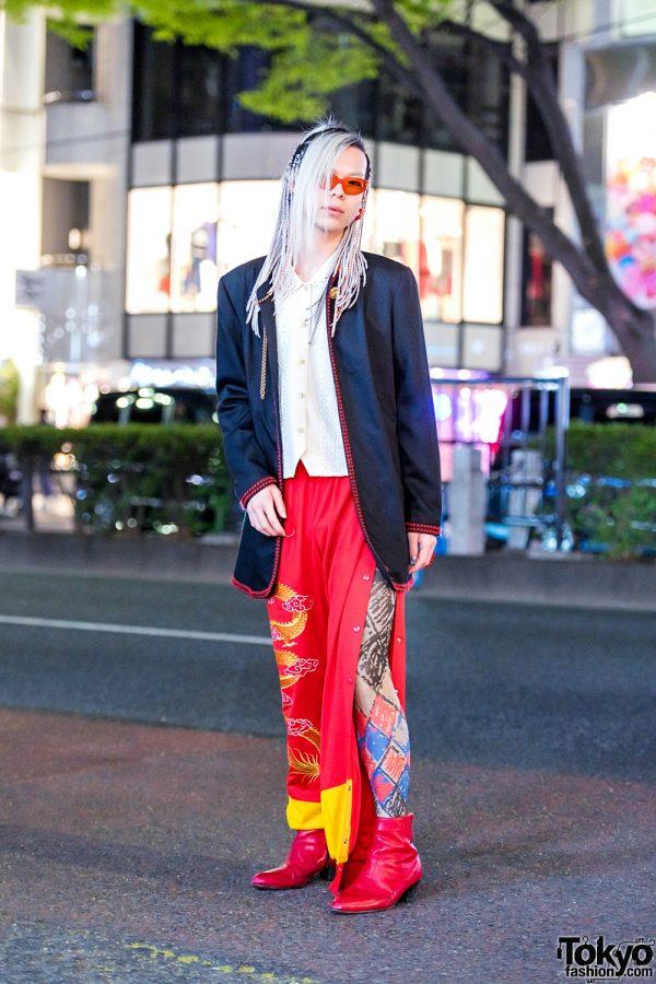Red Dragon Print Pants & Red Heeled Boots Harajuku Vintage Streetwear Style