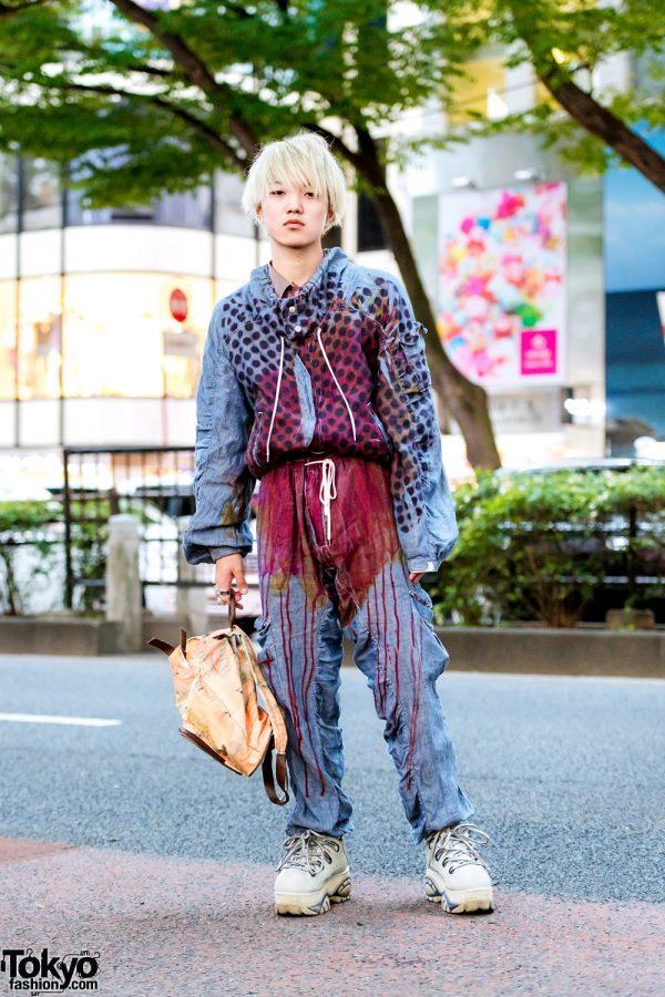 Harajuku Denim Street Style w/ Blonde Hair, Nozomi Ishiguro Hoodie, Matching Pants, Sneakers & Kansai Yamamoto Map Backpack