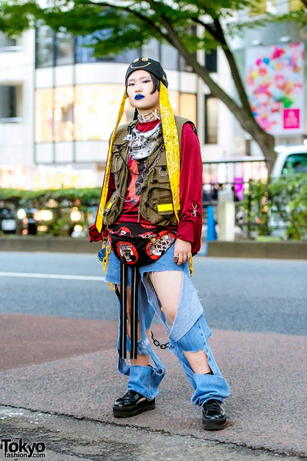 Statement Remake Street Style in Harajuku w/ Growing Pains, Cut Out Jeans, Fenty x Puma Sneakers, Dog Harajuku Skull Necklace & Joyrich Mickey Mouse Club Waist Bag