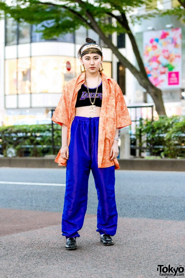 Japanese Resale Street Style w/ Paisley Print Shirt, Lakers Cropped Top, Drawstring Pants, Loafers & Headscarf