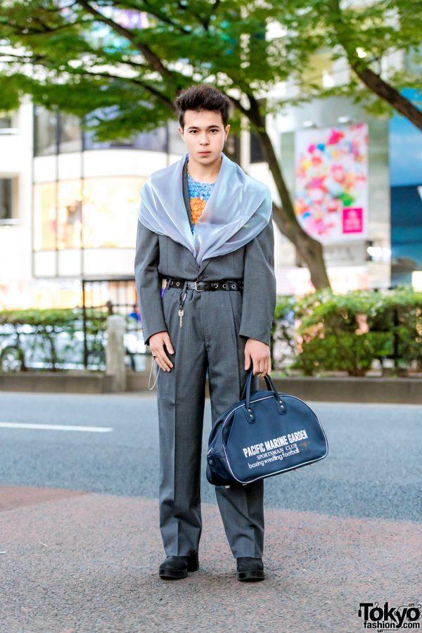 Resale Streetwear Fashion w/ Grey Suit, Popcorn Pleat Top, Suede Boots, Strawberry Necklace & Duffel Bag