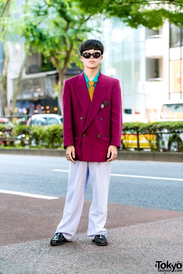 Harajuku Resale Menswear Suit Style w/ Double-Breasted Blazer, Dress Pants, Leather Loafers & Christopher Nemeth Badges