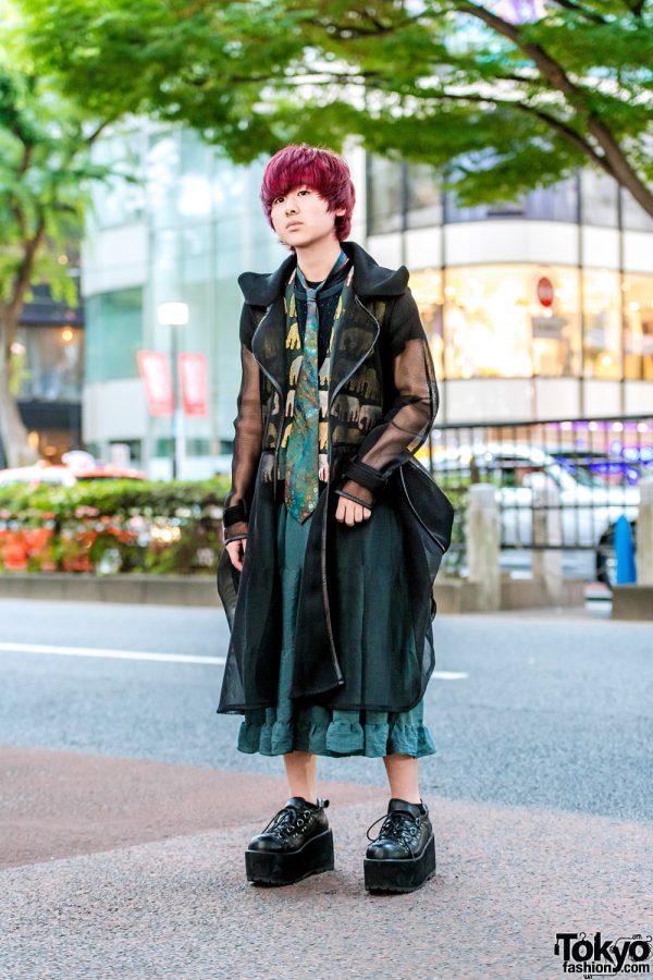Japanese Streetwear Style w/ Purple Hair, Prega Sheer Coat, Kinji Elephant Vest, Ruffle Skirt & Yosuke Lace-Up Shoes