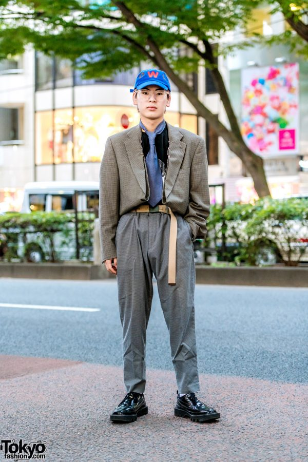 Menswear Suit Style in Harajuku w/ Walter Van Beirendonck, Soe Houndstooth Suit & Rombaut Lace-Up Loafers