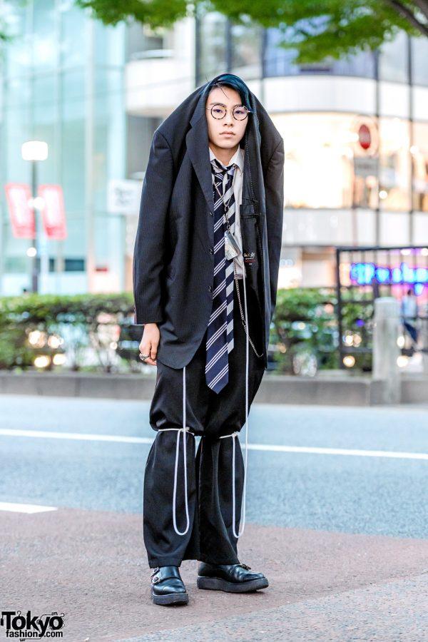 Statement Japanese Menswear Suit Street Style w/ Blazer Worn Over Head, Double Neckties, Yohji Yamamoto & Foot The Coacher