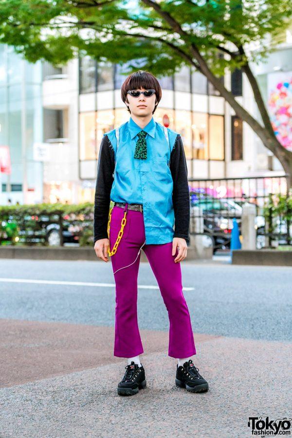 Retro Vintage Street Style in Harajuku w/ Cut Off Necktie, Flared Pants, FILA Sneakers & Santa Alien Backpack