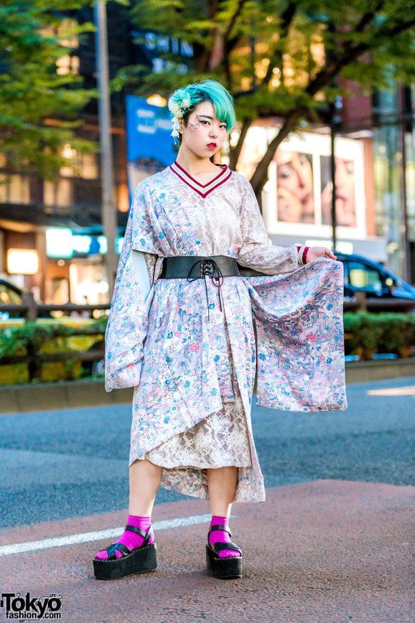 Harajuku Street Style w/ Green Hair, Floral Kimono, WEGO Lace Dress & Takeshita Dori Platform Sandals