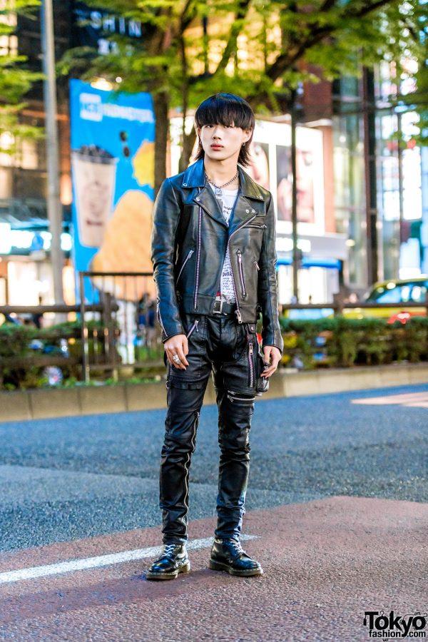 Harajuku Guy in Punk-Inspired Street Style w/ Nirvana & Dr