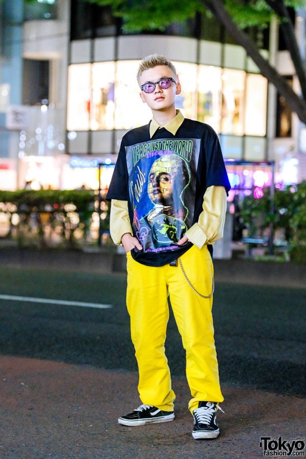 Preppy Street Casual Style in Harajuku w/ Supreme Pants, Y/Project T-Shirt & Vans Suede Sneakers