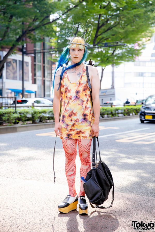 Japanese Dj & Model in Avant-Garde Street Style w/ Vivienne Westwood Angel Print Sleeveless Top, Red Fishnets, Rocking Horse Shoes & Leather Wings
