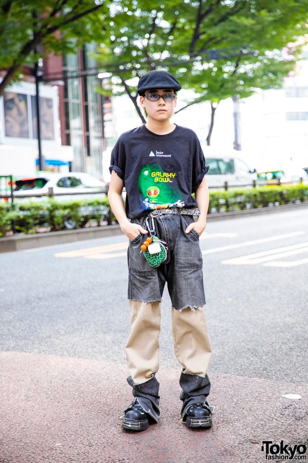 Vintage Remake Street Style in Harajuku w/ Galaxy Bowl T-Shirt, Cutoff Shorts Over Pants & Platform Buckle Shoes