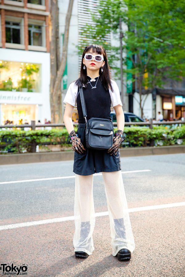 Japanese Layered Monochrome Street Style w/ Forever21 Shirt, Net Pants, Yosuke Boots, Ultimate Label Crossbody Bag & Lace Gloves