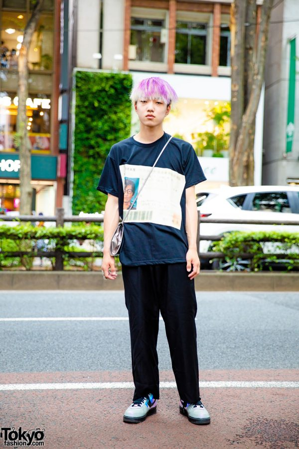 Purple-Haired Harajuku Guy in Casual Streetwear w/ Shirarin T-Shirt, Y's Pants, Nike Sneakers & Kinji Envelope Sling Bag