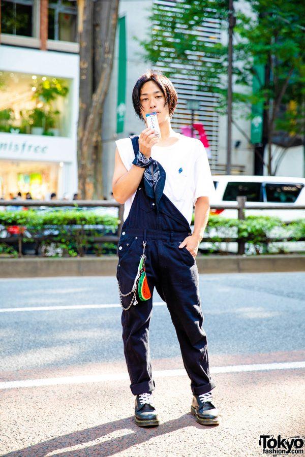 Casual Monochrome Street Style in Harajuku w/ UNIQLO Doraemon Shirt, Overalls, Dr. Martens Boots & Bandana