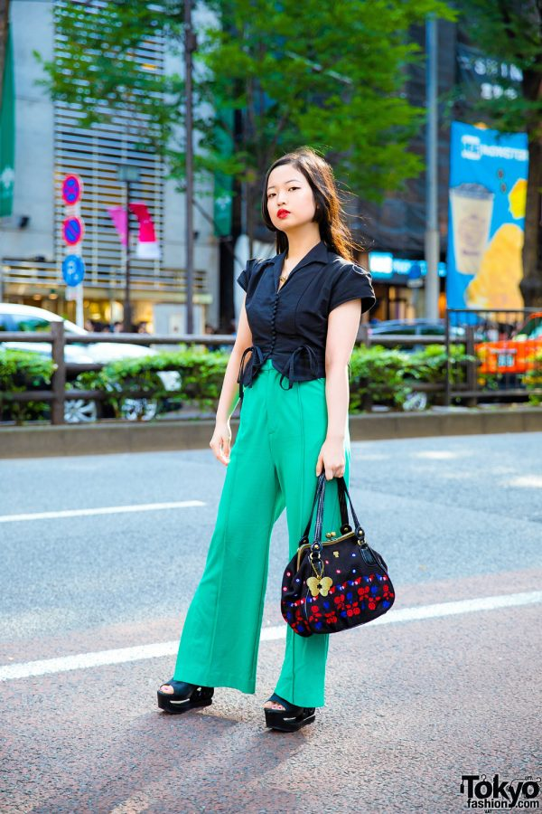 Chic Minimalist Streetwear in Harajuku w/ Sly, Anna Sui Clasp Handbag, Iconic Jeffrey Campbell Platforms & Vivienne Westwood Necklace