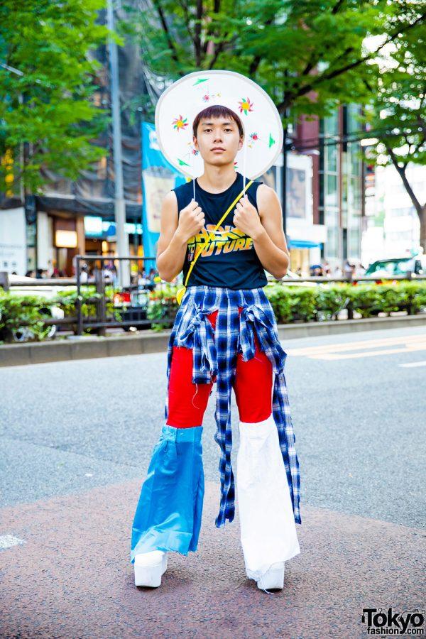 Japanese Remake Street Style w/ Back To The Future Shirt, Remake Pants w/ Flared Leg Warmers, Plaid Panels, Spongebob Squarepants Sling & Wide Brim Hat