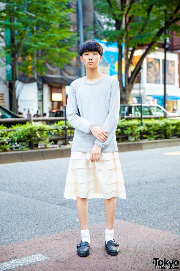 Japanese Minimalist Street Style w/ Comme des Garcons Grey Sweater, Tiered Skirt & Ralph Lauren Loafers