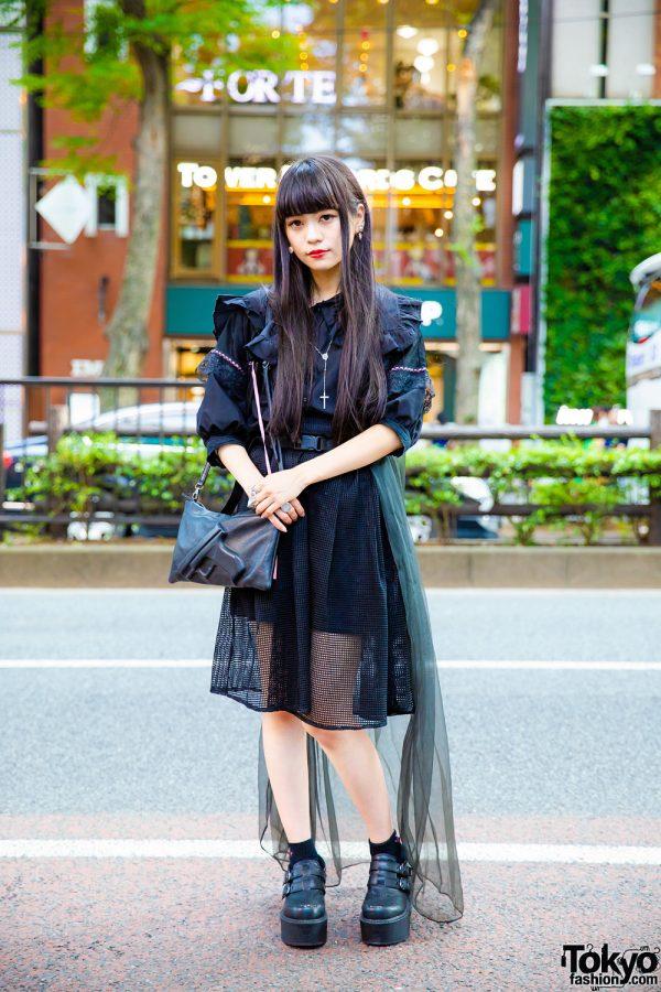 Chic Sheer Black Japanese Street Style w/ Merry Jenny Top, Vlieger & Vandam Bag, Yosuke, Vivienne Westwood & Alice Black