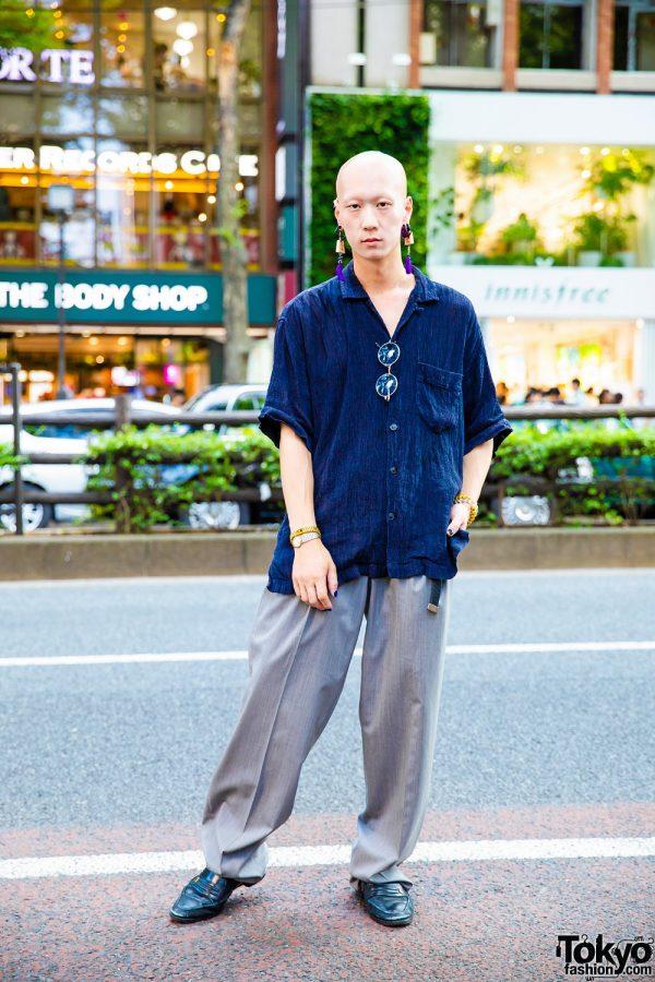 Casual Menswear w/ Isse Miyake Ruched Shirt, Balenciage, YSL Loafers & Tassel Earrings