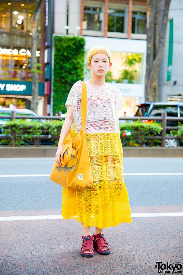 Harajuku Street Style w/ Pixie Cut, Zara Knit Dress Over UNIQLO Floral Dress, Freak's Store Sandals & South2 West8 Tote Bag