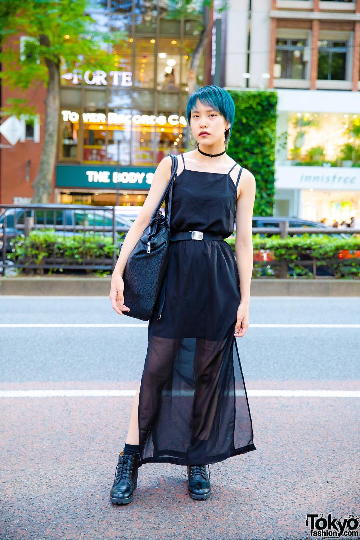 Japanese Streetwear Style w/ Sheer Black Dress, Backs Oversized Bag, Hoop Earrings & Velvet Choker
