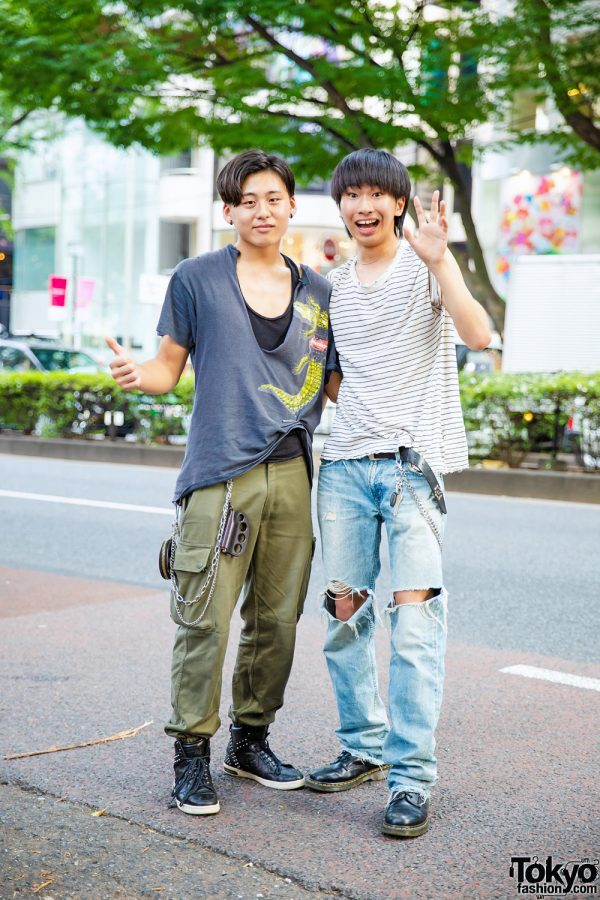 Harajuku Distressed Streetwear Styles w/ Budweiser T-Shirt, Converse, Levi's, Dr. Martens & BlackMeans Knuckleduster Lighter Holder