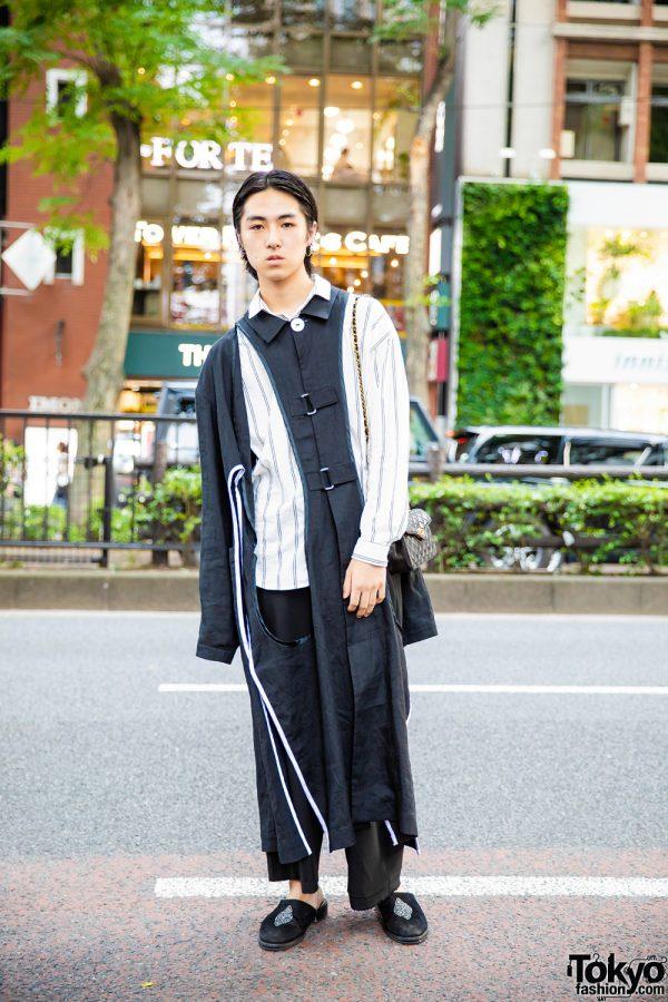 Keisuke Yoshida Coat, Chanel Quilted Bag & Black Suede Slippers in Harajuku