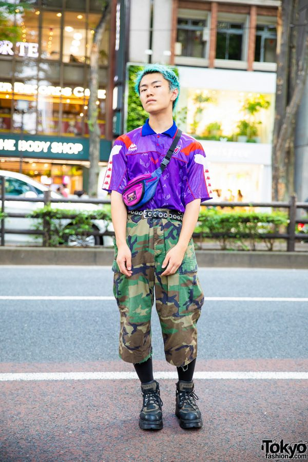 Camo Japanese Streetwear w/ Aqua Hair, Kappa Jersey, Camo Pants, New Rock Platforms & Crossbody Bag