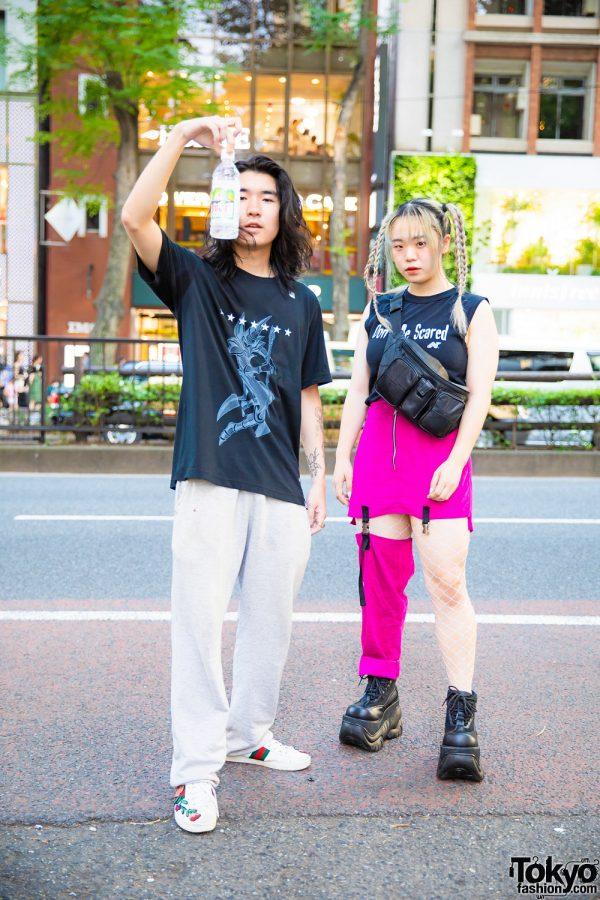Japanese Resale & Handmade Street Styles w/ Yu-Gi-Oh! Dark Magician T-Shirt, Gucci Sneakers, Don't Be Scared Top, Handmade Skirt w/ Half Pants, Pinnap & Demonia Platforms