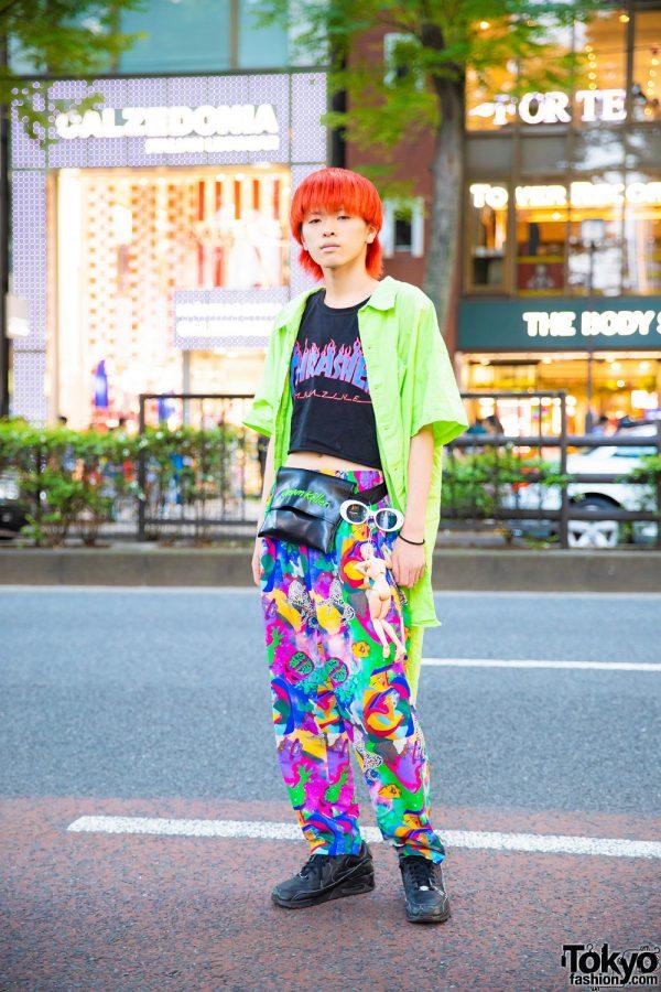 Colorful Harajuku Street Style w/ Orange Hair, Neon Green Shirt, Thrasher Top, Kobinai Printed Pants, Nike Sneakers & Remake Doll Keychain