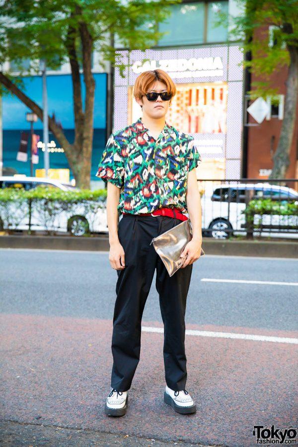 Smart Casual Harajuku Street Style w/ Graphic Print Shirt, Black Pants, George Cox Creepers & Donna Karan Metallic Clutch