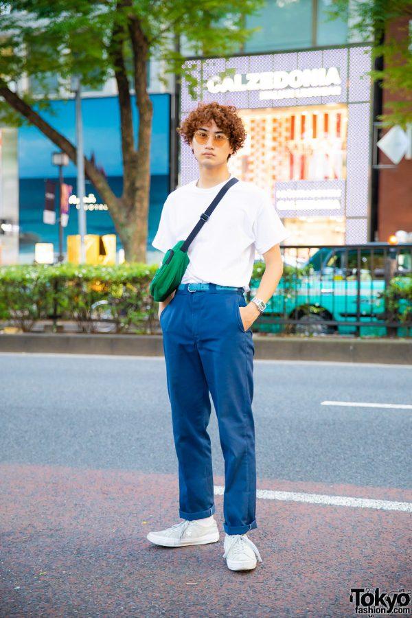 Casual Street Style in Harajuku w/ Curly Bob, Gildan, Dickies, CK Calvin Klein, Converse Suede Sneakers & Nike Crossbody Bag