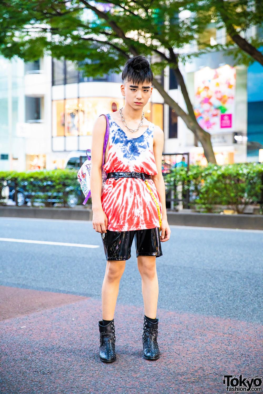 Eclectic Tokyo Street Style W Mohawk Tie Dye Tank Top