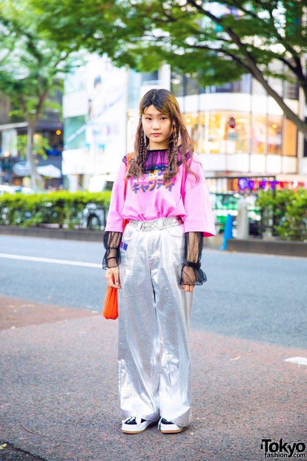 Pink Graphic Tee & Silver Pants Vintage Street Style w/ Candy Stripper, RRR by Sugar Spot Factory, UNIF &  Oh Pearl Tokyo